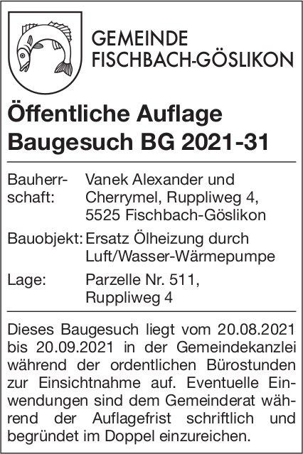 Baugesuche, Fischbach-Göslikon - Öffentliche Auflage BG 2021-31