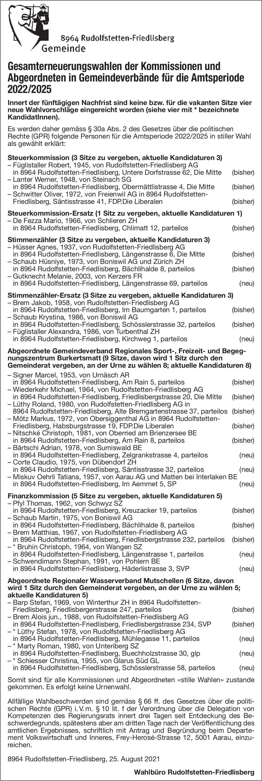 Rudolfstetten-Friedlisberg - Gesamterneuerungswahlen