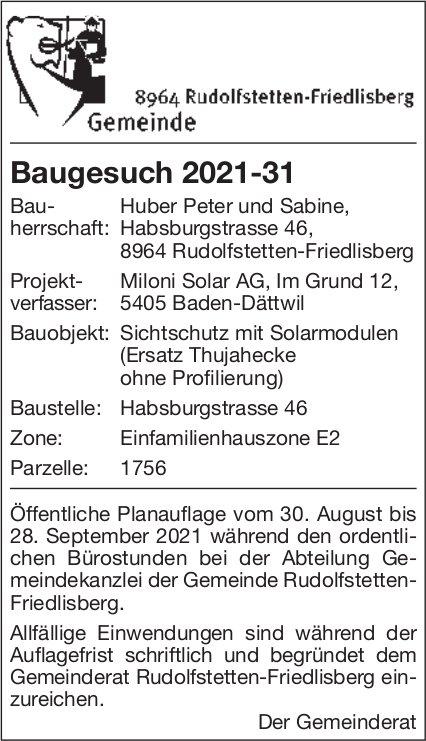 Baugesuche, Rudolfstetten-Friedlisberg - Miloni Solar AG, Baugesuch 2021-31