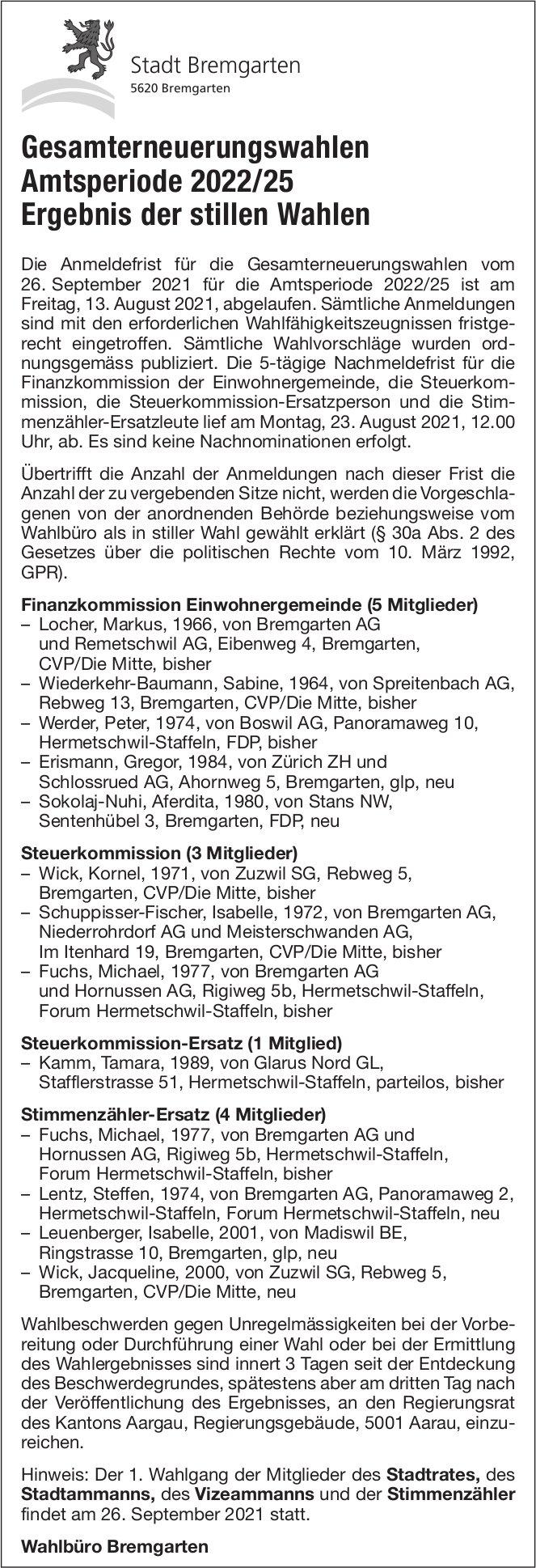 Bremgarten - Gesamterneuerungswahlen