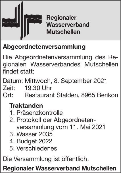 Mutschellen - Regionaler Wasserverband, Abgeordnetenversammlung