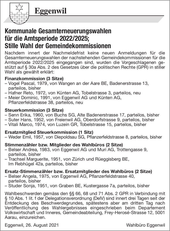 Eggenwil - Kommunale Gesamterneuerungswahlen