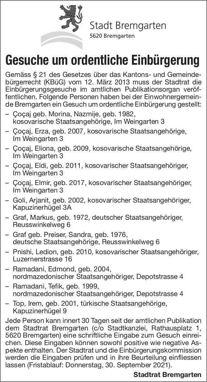 Bremgarten - Gesuche um ordentliche Einbürgerung