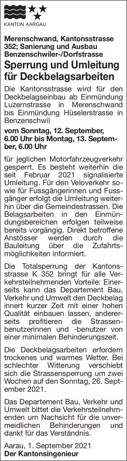Meerenschwand - Sperrung und Umleitung für Deckbelagsarbeiten, 12. bis 13. September