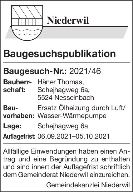 Baugesuche, Niederwil - Baugesuch-Nr.: 2021/46