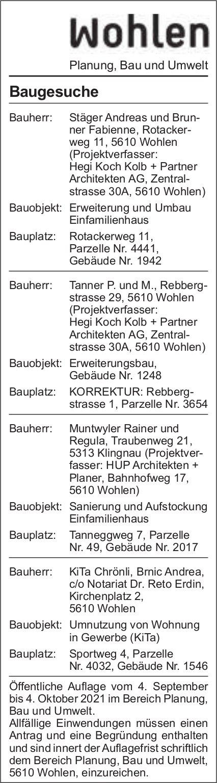 Baugesuche, Wohlen - Stäger Andreas und Brunner Fabienne