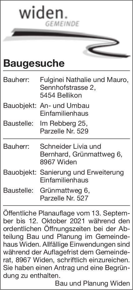 Baugesuche, Widen - Fulginei Nathalie und Mauro