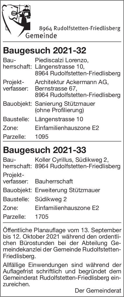 Baugesuche, Rudolfstetten-Friedlisberg - Architektur Ackermann AG, Baugesuch 2021-32 Baugesuch 2021-33