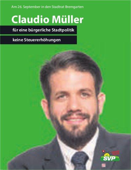 SVP, Bremgarten - Claudio Müller für eine bürgerliche Stadtpolitik