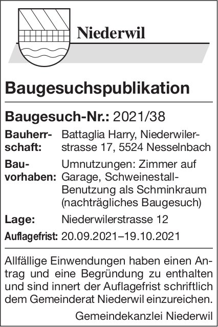 Baugesuche, Niederwil - Baugesuchspublikation