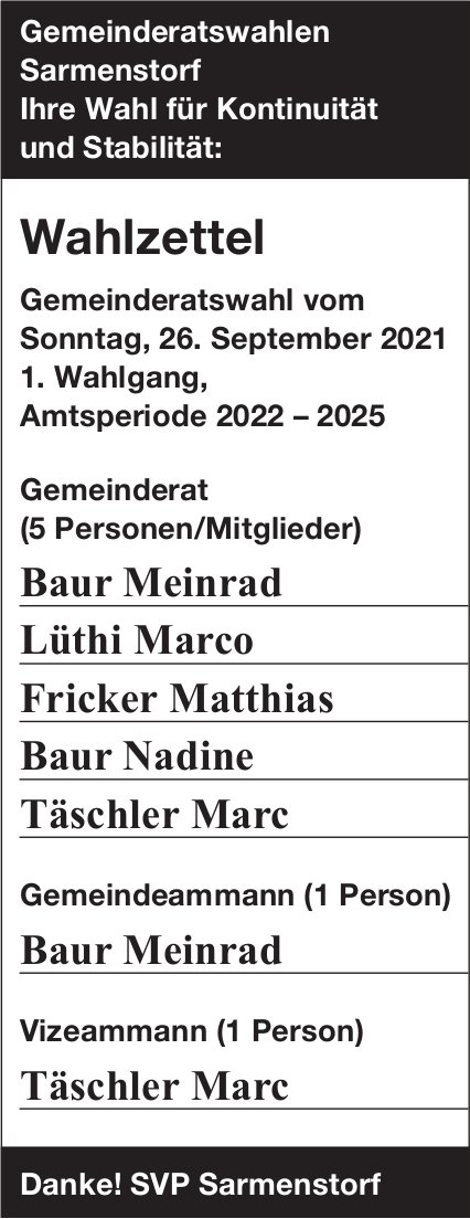 Gemeinderatswahlen, Sarmenstorf - Wahlzettel