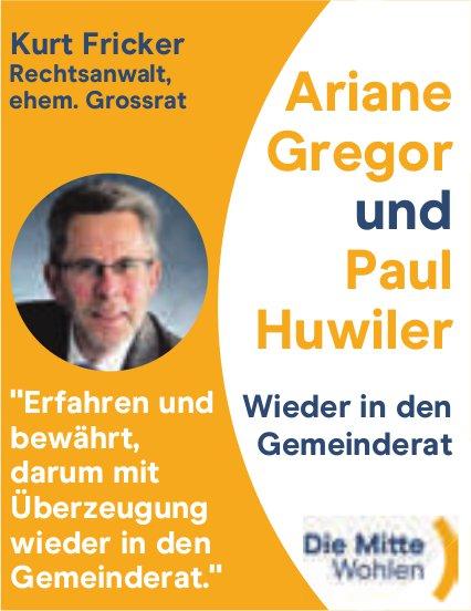 Die Mitte, Ariane Gregor und Paul Huwiler wieder in den Gemeinderat