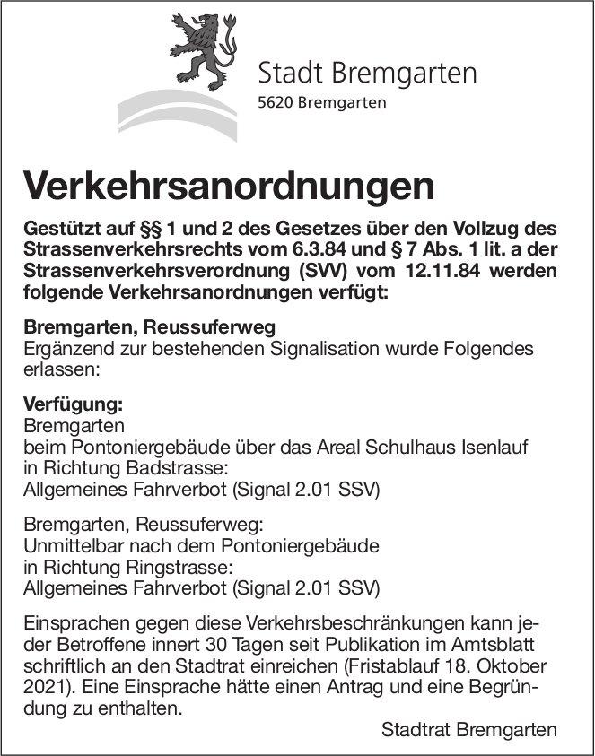 Stadt Bremgarten, Verkehrsanordnungen