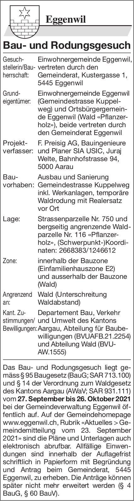 Baugesuche, Eggenwil - Bau- und Rodungsgesuch