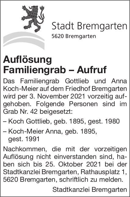 Bremgarten - Auflösung Familiengrab – Aufruf