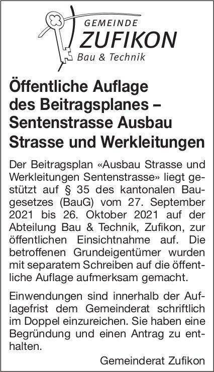 Zufikon - Öffentliche Auflage des Beitragsplanes – Sentenstrasse Ausbau Strasse und Werkleitungen