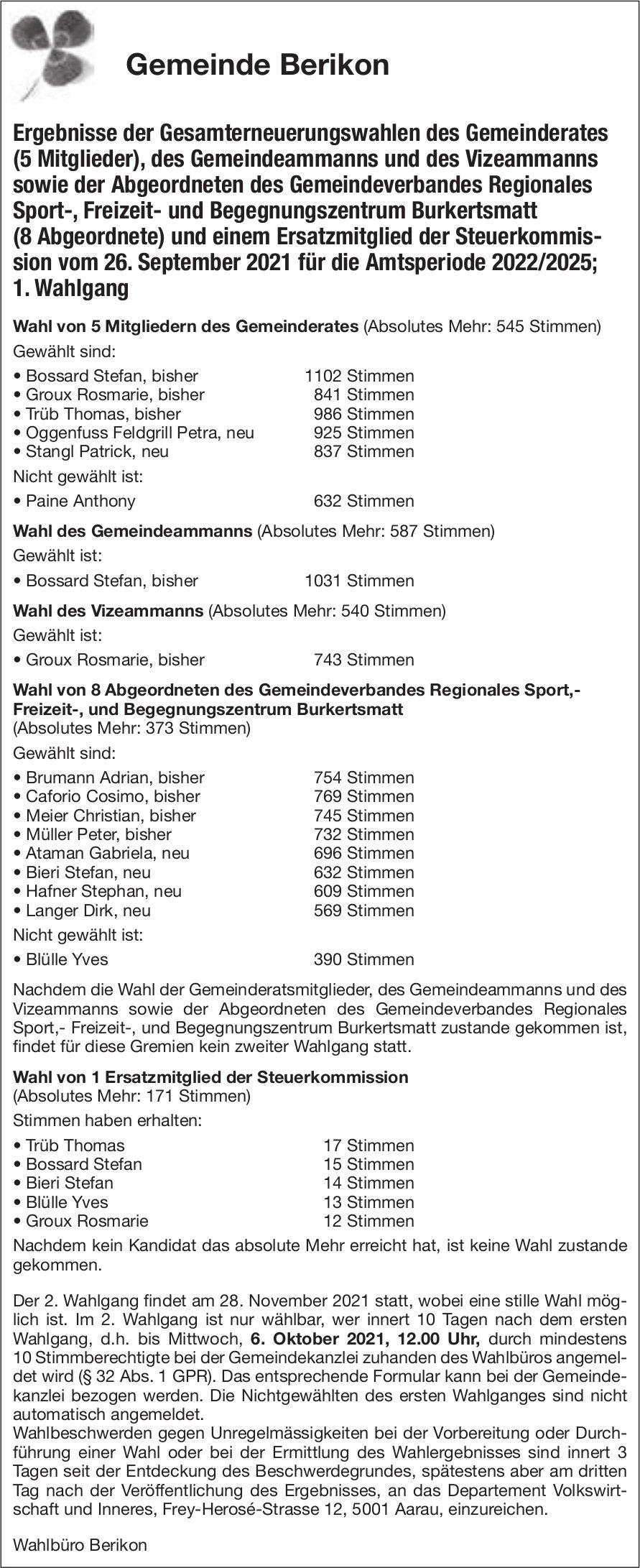 Gemeinde, Berikon - Ergebnisse der Gesamterneuerungswahlen...