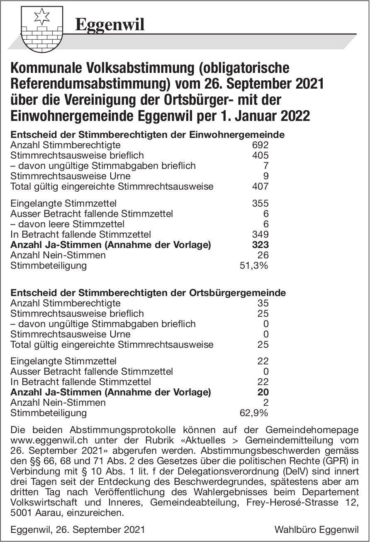 Gemeinde, Eggenwil - Kommunale Volksabstimmung (obligatorische Referendumsabstimmung) über die Vereinigung der Ortsbürger- mit der Einwohnergemeinde Eggenwil per 1. Januar 2022