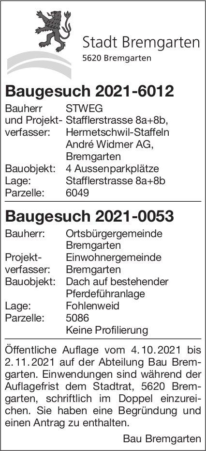Baugesuche, Bremgarten