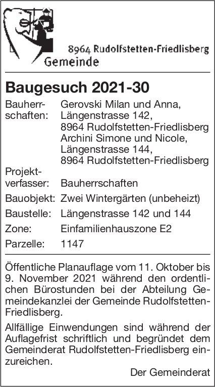 Baugesuche, Rudolfstetten-Friedlisberg - Gerovski Milan und Anna