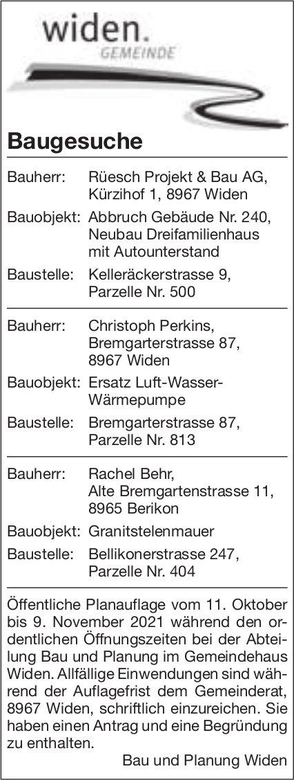 Baugesuche, Widen - Rüesch Projekt & Bau AG