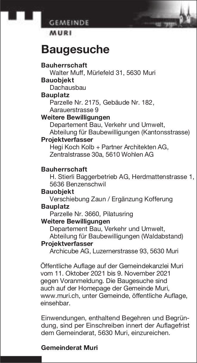 Baugesuche, Muri - Walter Muff