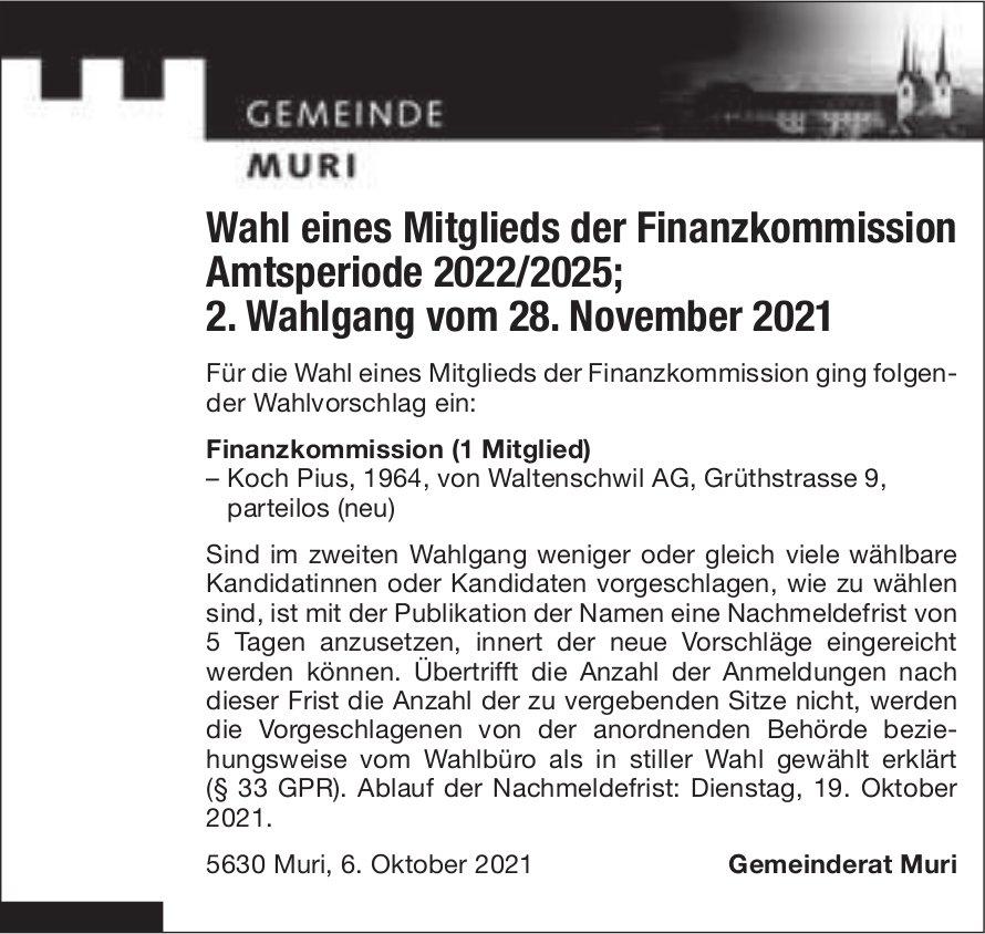 Muri - Wahl eines Mitglieds der Finanzkommission