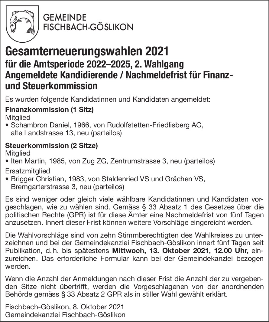Fischbach-Göslikon - Gesamterneuerungswahlen