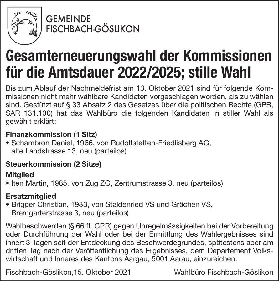 Fischbach-Göslikon - Gesamterneuerungswahl der Kommissionen
