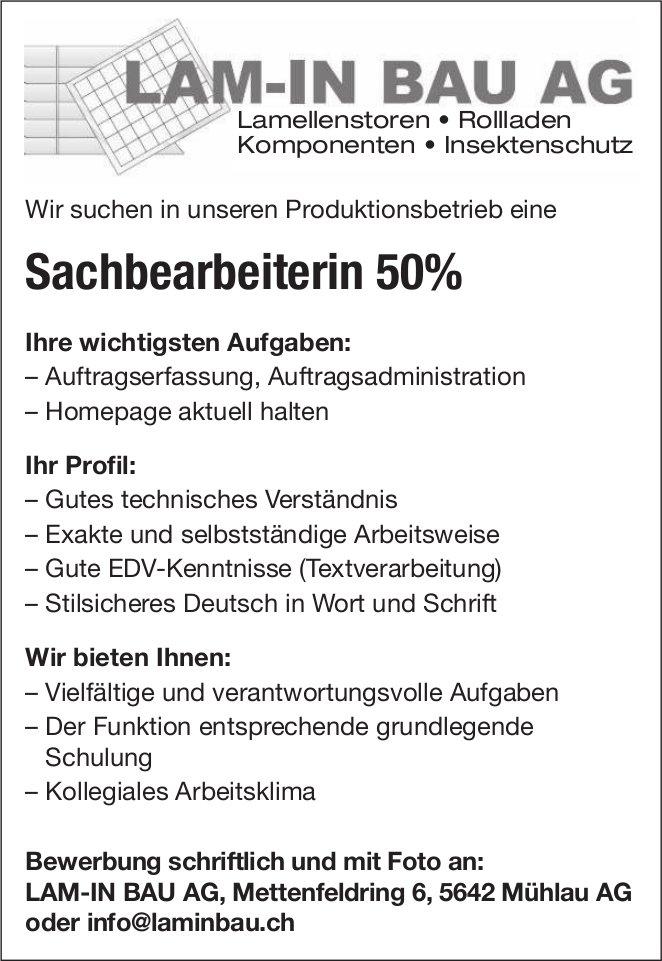 Sachbearbeiterin 50%, Lam-In Bau AG, Mühlau, gesucht