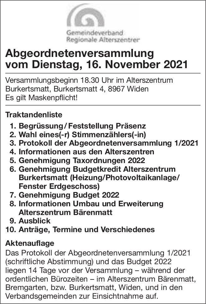 Abgeordnetenversammlung, 16. November, Alterszenttum Burkertsmatt, Widen