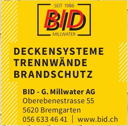 BID - G Millwater AG, Bremgarten - Deckensysteme, Trennwände,  Brandschutz