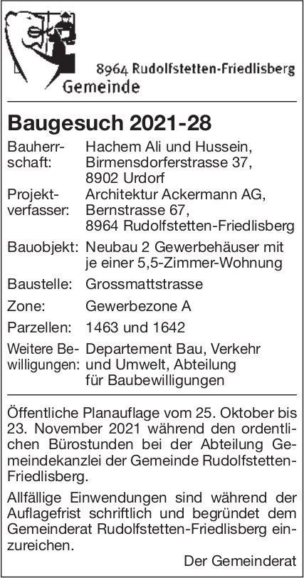 Baugesuche, Rudolfstetten-Friedlisberg - Hachem Ali und Hussein