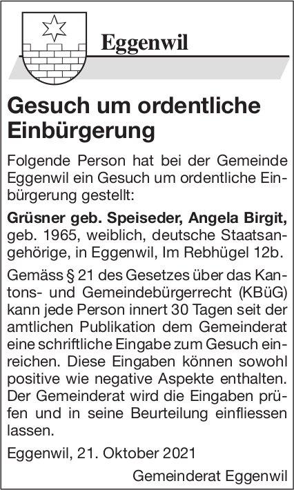 Eggenwil - Gesuch um ordentliche Einbürgerung