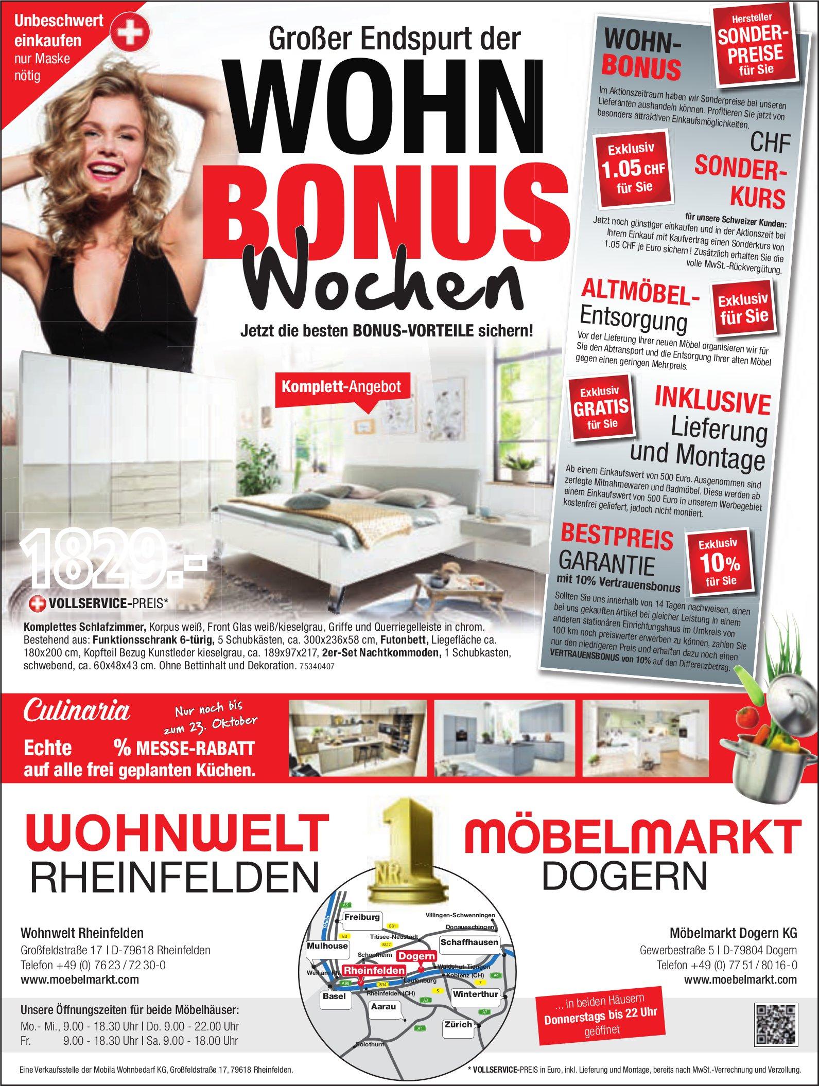 Wohnwelt, D-Rheinfelden - Wohn Bonus Wochen