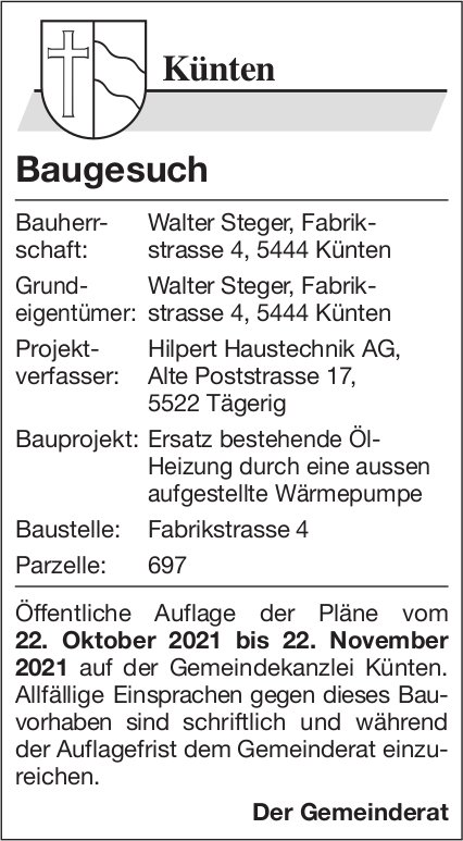 Baugesuche, Künten - Walter Steger