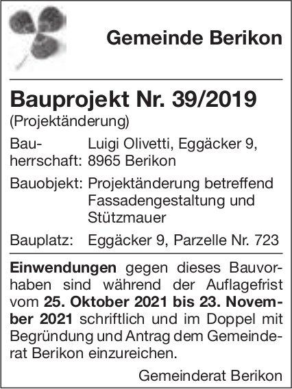 Baugesuche, Gemeinde Berikon, Luigi Olivetti