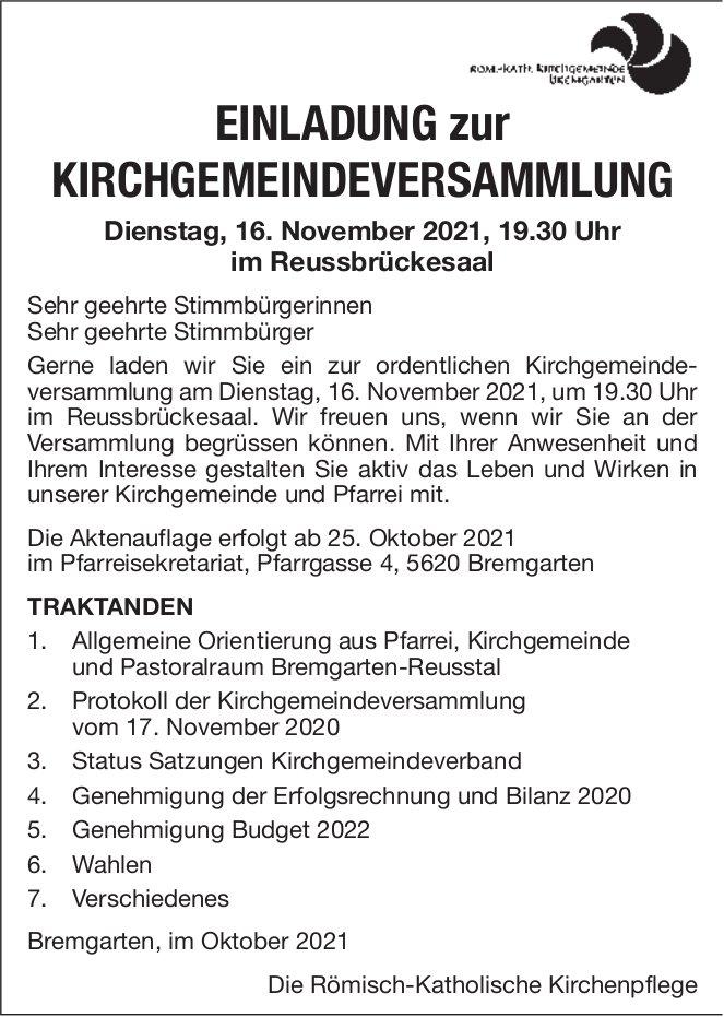 Kirchgemeindeversammlung, 16. November, Reussbrückesaal, Bremgarten