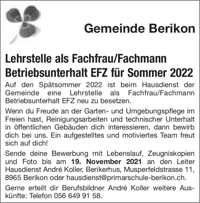 Lehrstelle als Fachfrau/Fachmann Betriebsunterhalt EFZ, Gemeinde Berikon, zu vergeben