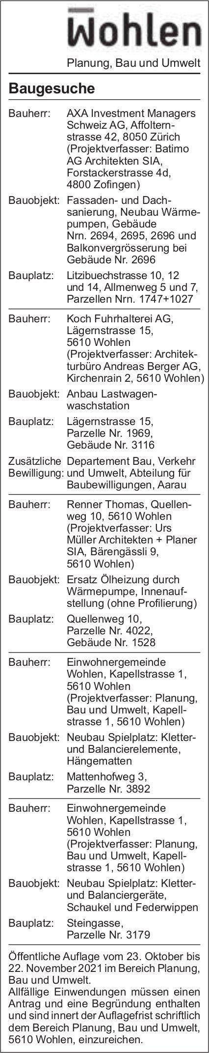 Baugesuche, Wohlen - AXA