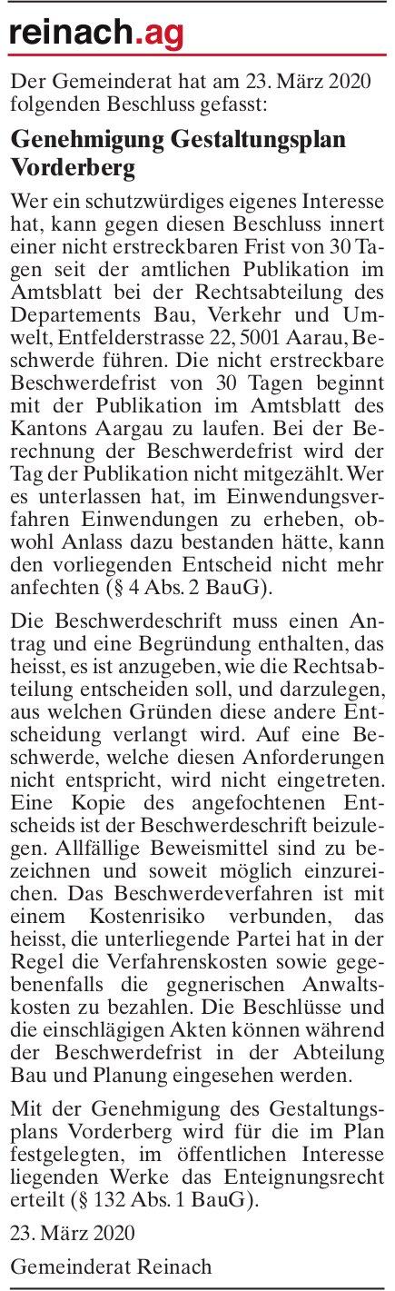 Genehmigung Gestaltungsplan Vorderberg, Reinach