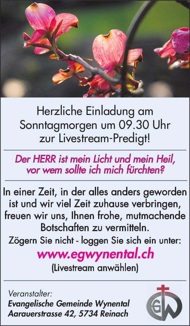 Herzliche Einladung am Sonntagmorgen um 09.30 Uhr zur Livestream-Predigt!, EG Wynental,  Reinach