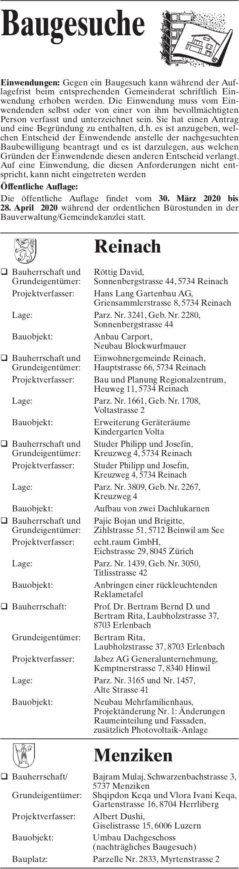 Baugesuche Reinach,  Menziken
