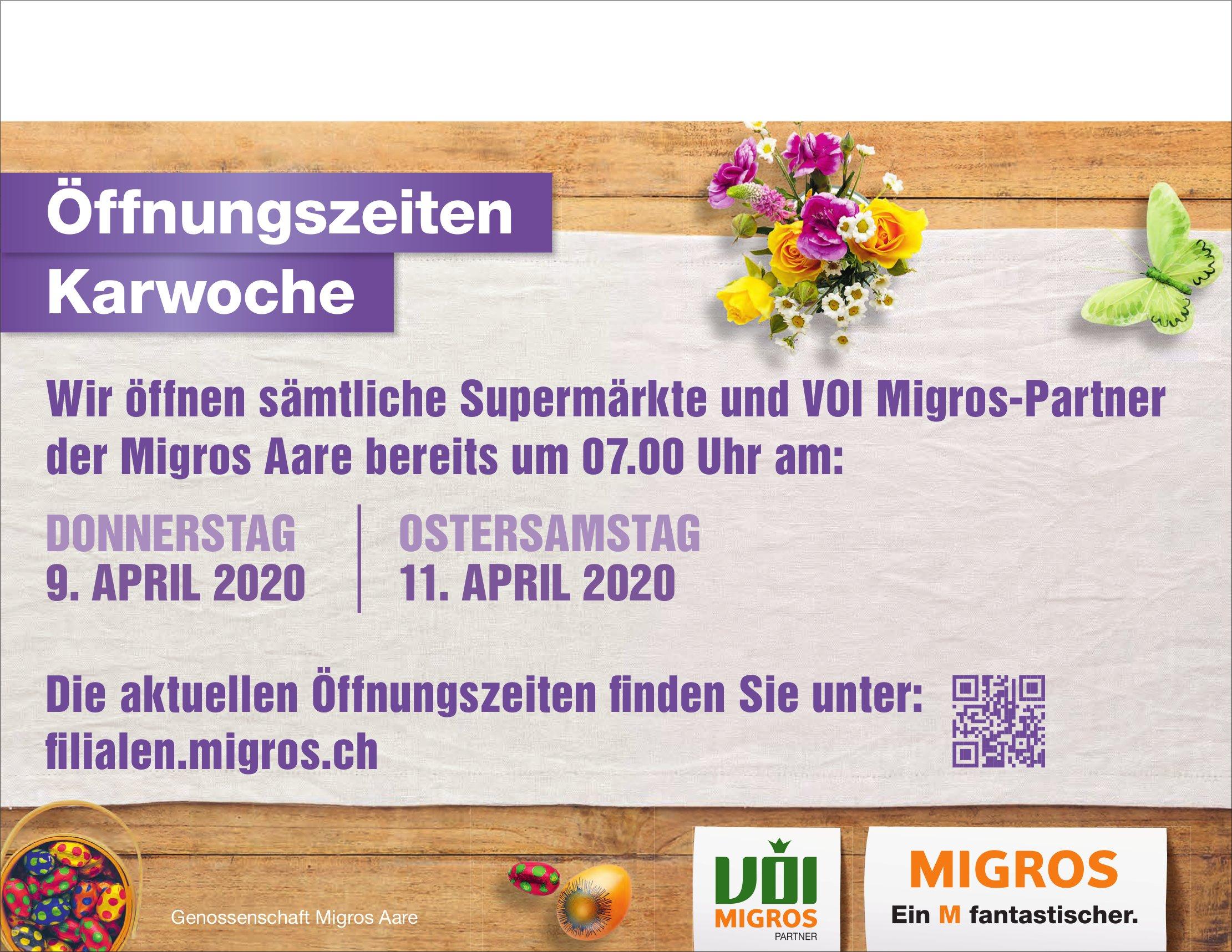 Genossenschaft Migros Aare - Öffnungszeiten Karwoche