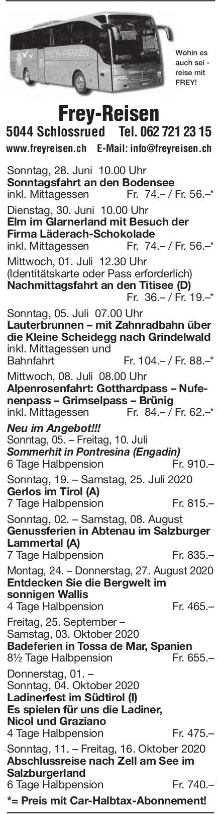 Reiseprogramm, 28. Juni - 16. Oktober, Frey-Reisen, Schlossrued