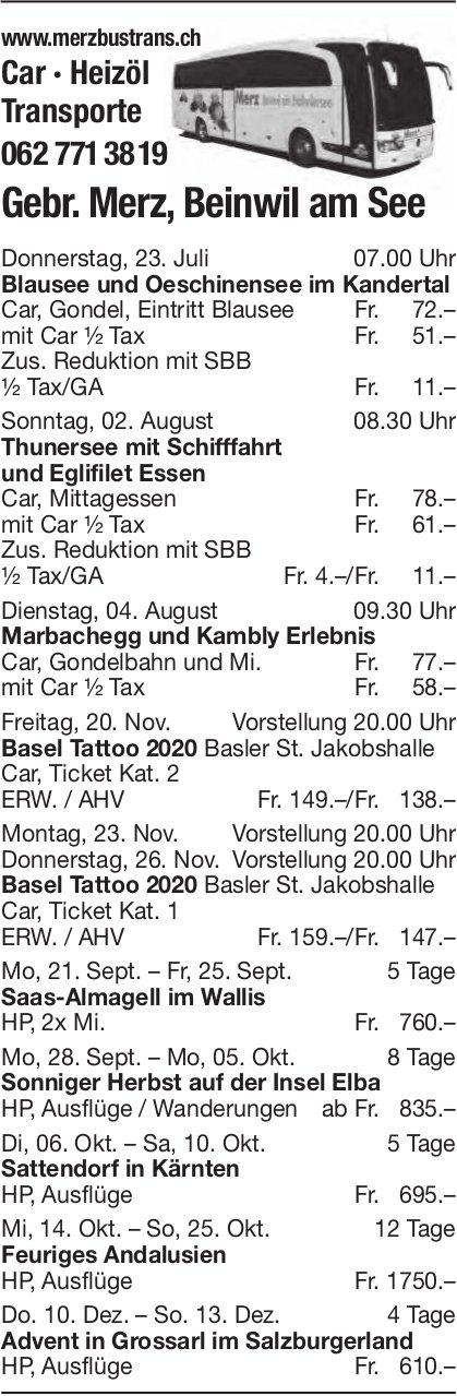 Reiseprogramm, 23. Juli - 13. Dezember, Gebr. Merz Transporte, Beinwil am See