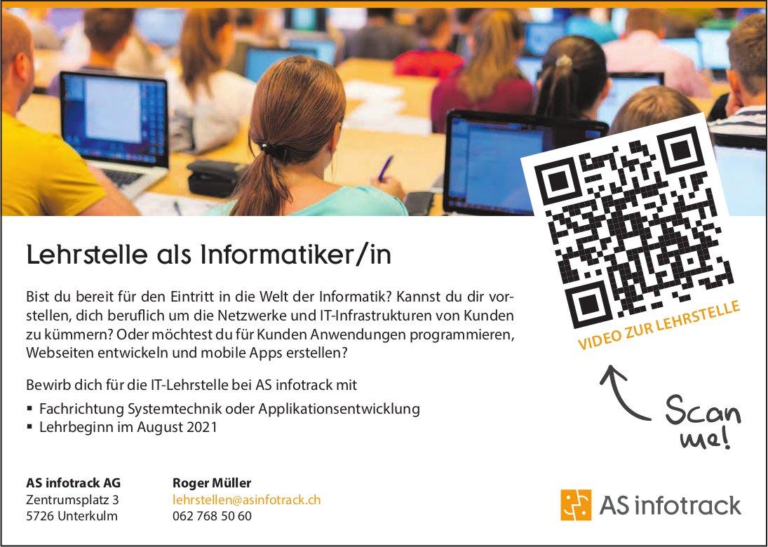 Lehrstelle als Informatiker/in, AS infotrack AG, Unterkulm, zu vergeben