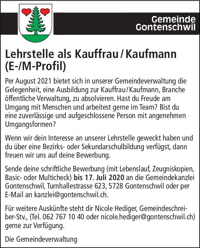 Lehrstelle als Kauffrau / Kaufmann (E-/M-Profil), Gemeinde, Gontenschwil, zu vergeben