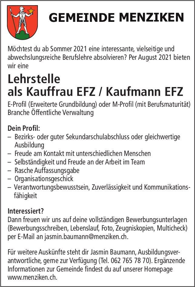 Lehrstelle als Kauffrau EFZ / Kaufmann EFZ, Gemeinde, Menziken, zu vergeben
