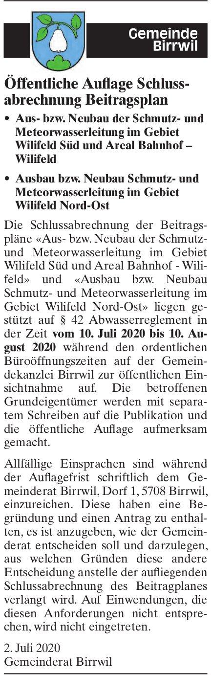 Gemeinde, Birrwil - Öffentliche Auflage Schlussabrechnung Beitragsplan